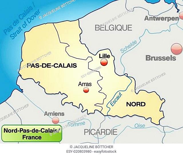 Umgebungskarte von Nord-Pas-de-Calais mit Grenzen in Pastelorange