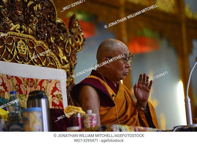 INDIA Dharamasala -- 10 May 2015 -- The Tibetan spiritual leader, the Dalai Lama speaks during a teaching session at Gyuto Monastery in Dharamshala