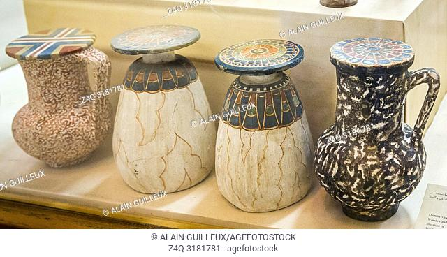 Egypt, Cairo, Egyptian Museum, from the tomb of Yuya and Thuya in Luxor : Dummy vases in wood, painted to imitate stones (granite or alabaster)