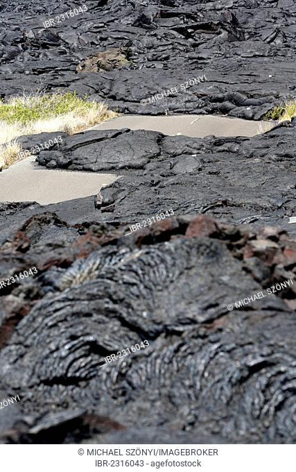 Lava-covered road, East Rift Zone, Kilauea volcano, Hawaii Volcanoes National Park, Big Island, USA