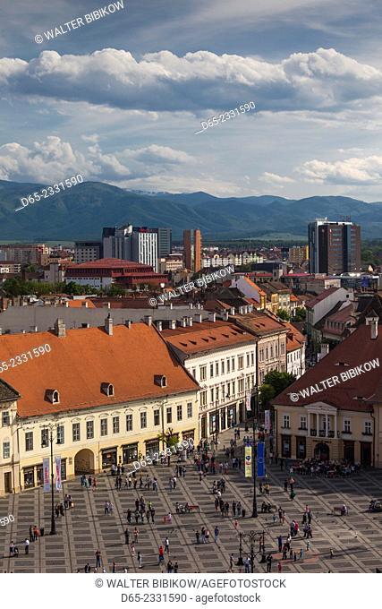 Romania, Transylvania, Sibiu, Piata Mare Square, elevated view