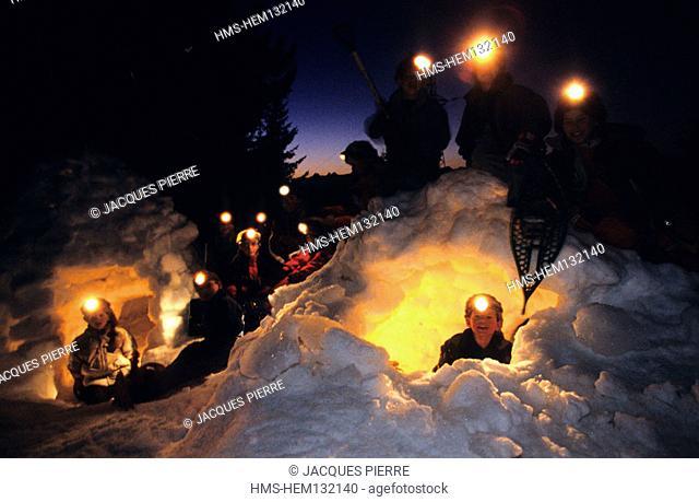 France, Savoie (73), igloo in Les Saisies (model release ok)