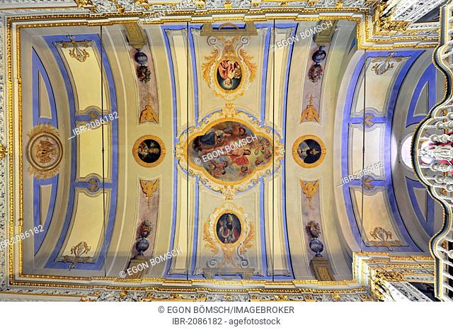 Interior view, ceiling paintings, vaulted ceilings, Igreja Sao Sebastiao da Pedreira Church, old town, Lisbon, Lisboa, Portugal, Europe