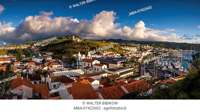 Portugal, Azores, Faial Island, Horta, elevated town view from Monte Quelmado, dawn