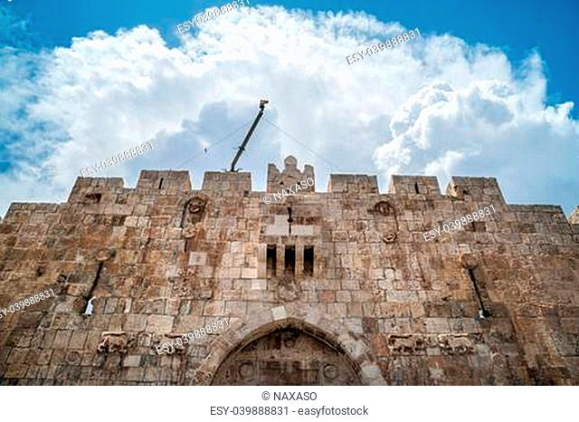 Lion Gate of the ancient wall surrounding the Old City of Jerusalem