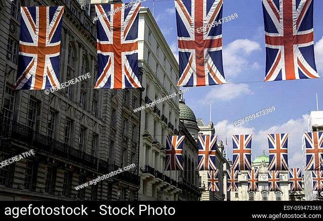 Row of British Flags in London on Regent Street