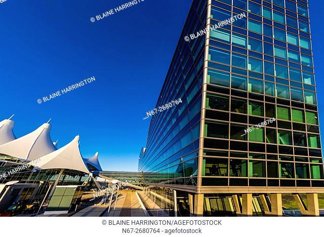 Jeppesen Terminal on left and Westin Denver International Airport Hotel on right, Denver International Airport, Denver, Colorado USA