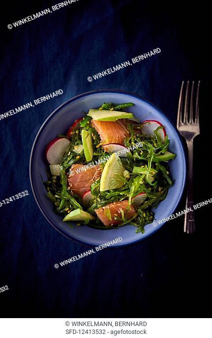 Wakame salad with salmon, apple and radishes