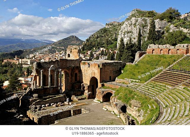 Teatro Greco in Taormina with the town in the background, Taormina, Sicily, Italy