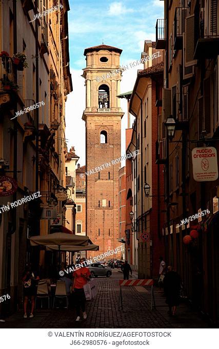 Tower of Duomo di San Giovanni Battista in Turín. Italy