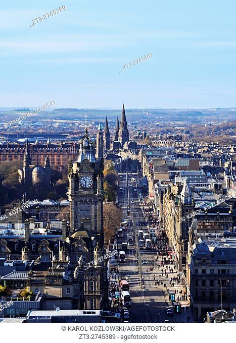 UK, Scotland, Lothian, Edinburgh, Calton Hill, View of the Princes Street with the Balmoral Hotel Clock Tower.