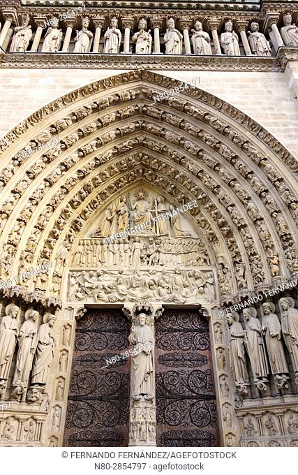 The Judgment door. Notre Dame cathedral. Paris. France. Europe