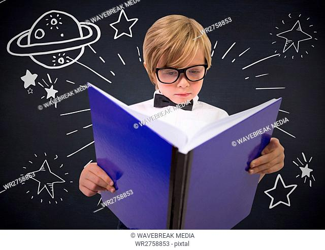 Kid with large book and white space doodles against navy chalkboard