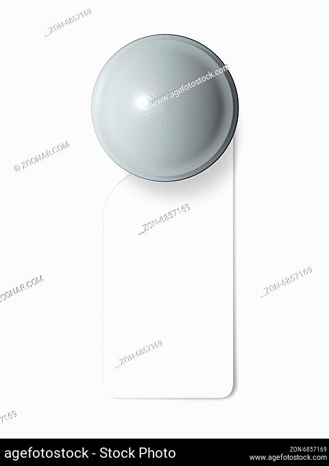 Door knob with blank label, hanging sign in hotel, isolated on white background