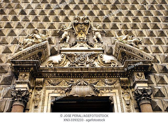 The Church of Gesù Nuovo, Piazza del Gesù Nuovo square, Naples city, Campania, Italy, Europe
