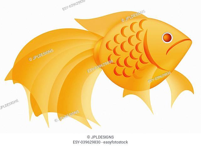 Fancy Goldfish Clipart Illustration Isolated on White Background