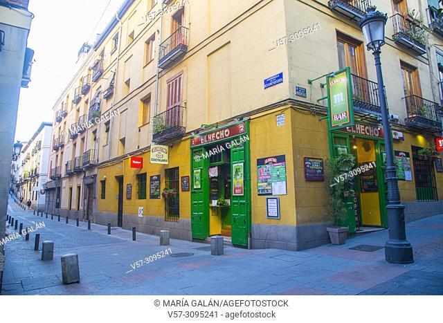 Costanilla de los Desamparados street corner to Huertas street. Madrid, Spain