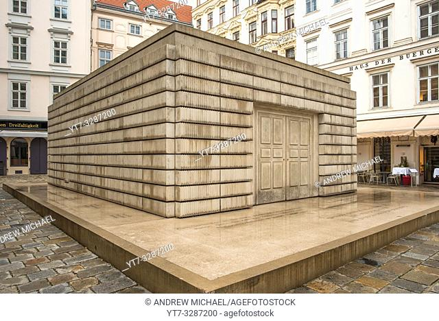 Judenplatz Holocaust Memorial, also known as The Nameless Library, in the Judenplatz square in Vienna, Austria