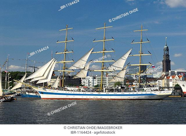 Large sailing ship Mir in the port of Hamburg at the Hafengeburtstag, Harbour Birthday 2009, Hamburg, Germany, Europe