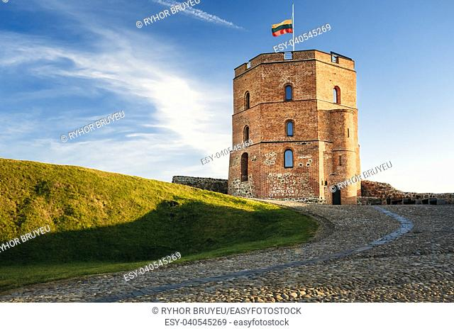 Tower Of Gediminas (Gedimino) In Vilnius, Lithuania. Historic Symbol Of The City Of Vilnius And Of Lithuania Itself. Upper Vilnius Castle Complex
