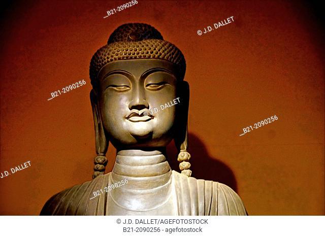 Vietnam. History. Statue of Amithaba Budha, 292cm height, 174 breadth. Stone. from the Lý dynasty;4th of Long Thuy Thaí Binh region, (1057) Phât Tich pagoda