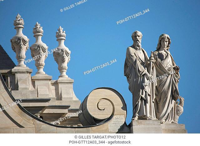 France, ile de france, paris 5e arrondissement, bd siant michel, universite de la sorbonne, chapelle, dome, sculpture. Date : 2011-2012 Photo Gilles Targat