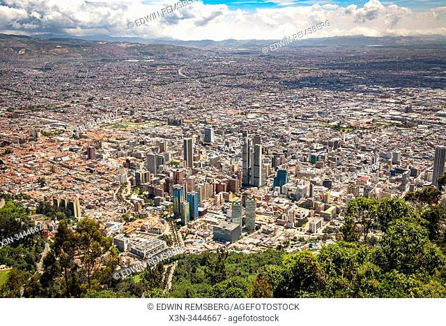 An overhead view of the bustling capital city , Bogot‡ , Colombia