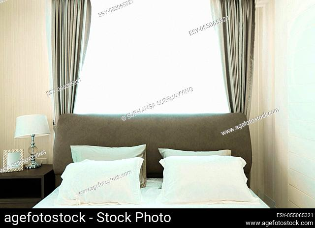 Bedroom interiors concept. Modern bedroom style at home
