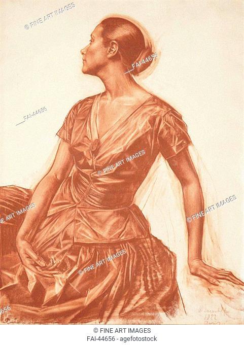 Portrait of Salomea Nikolayevna Andronikova (1888-1982) by Yakovlev, Alexander Yevgenyevich (1887-1938)/Sanguine on paper/Modern/1922/Russia/Private...