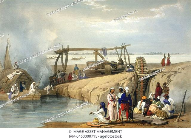 Persian wheel raising water from the Sutlej River - Punjab India  Hand coloured lithograph from Atkinson 'Afghanistan', London, 1842
