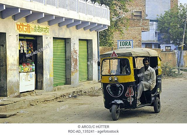 Auto rickshaw and shop Bharatpur Rajasthan India