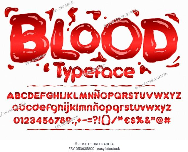 Blood font. Halloween bloody letters illustration. Vector alphabet with numbers and glyphs