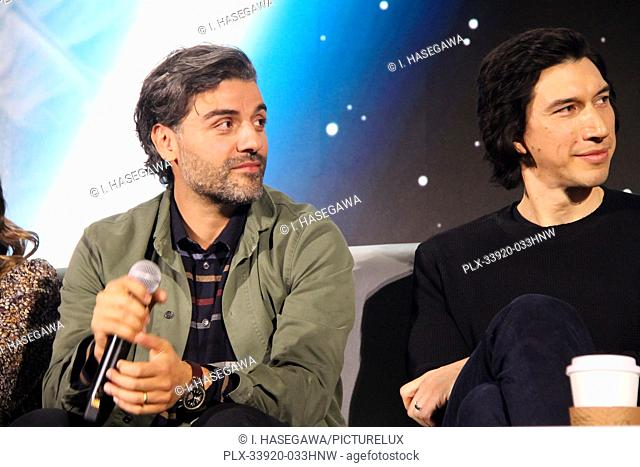 """Oscar Isaac, Adam Driver 12/04/2019 """"""""Star Wars: The Rise of the Skywalker"""""""" Press Conference held in Pasadena, CA. Photo by I"""
