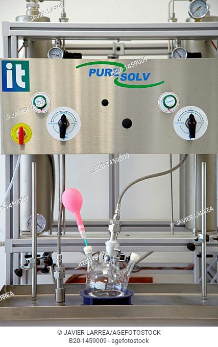 Dry distillation to produce dry solvents, synthesis lab, IkerChem research lab, design and synthesis of new chemical entities with therapeutic applications in...