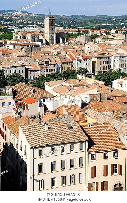 France, Aude, Narbonne, view from Gilles Aycelin donjon, Saint Paul basilica in the background