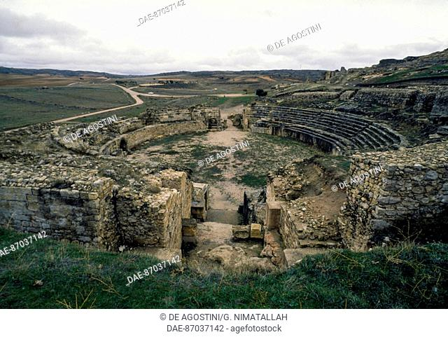 Roman amphitheatre, Segobriga archaeological park, near Saelices, Castile-La Mancha, Spain. Roman civilisation, 1st-2nd century