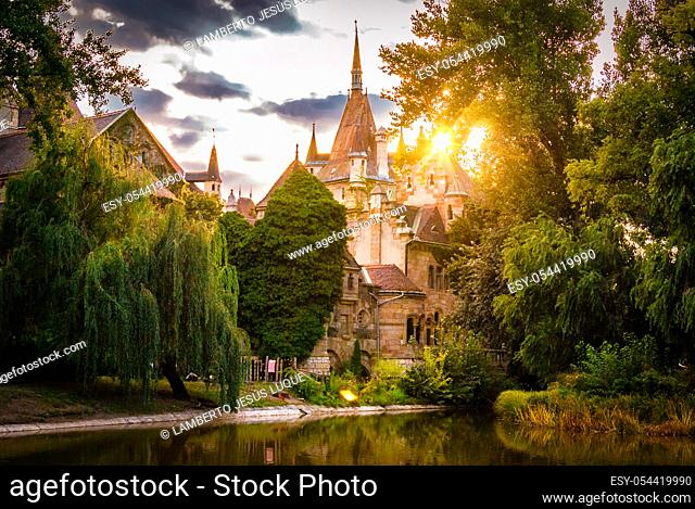 Vajdahunyad Castle located in the City Park in Budapest, Hungary