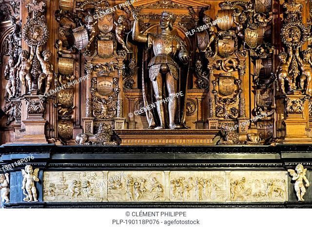 16th century Emperor Charles mantelpiece in Alderman's chamber at Brugse Vrije, former court of law / courthouse in the city Bruges, Flanders, Belgium