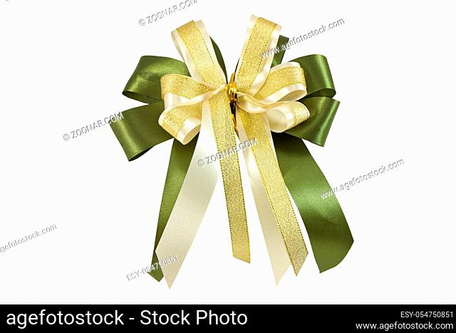 set of four golden ribbon gift bow isolated on white