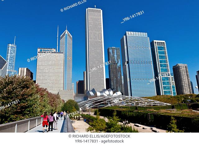 Skyline of Chicago from Millennium Park in Chicago, IL, USA