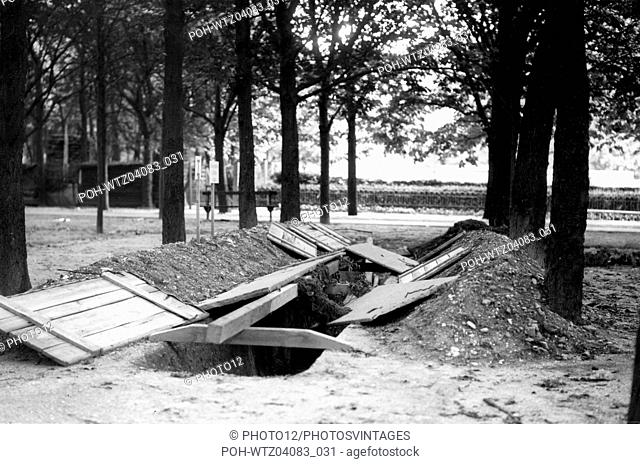 Trench digged during the Liberation, probably at the Jardin du Luxembourg World War II Liberation of Paris