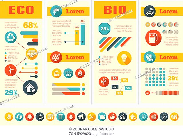 Flat Infographic Elements. Opportunity to Highlight any Country on the World Map. Vector Illustration EPS 10