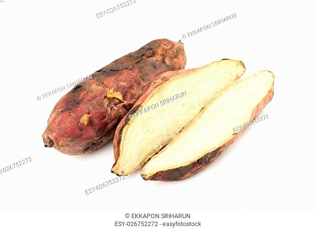 Roasted Sweet Potatoes on white background with shadow