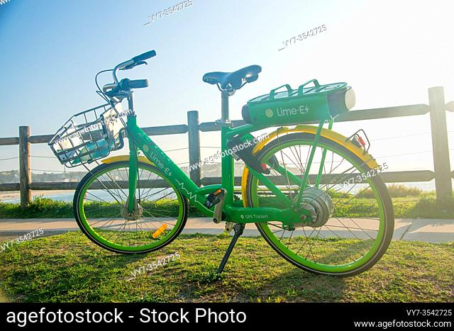 SYDNEY, AUSTRALIA - February 1, 2020: Lime Bicycle near the Bondi Beach in Sydney, NSW, Australia. Australia is a continent located in the south part of the...