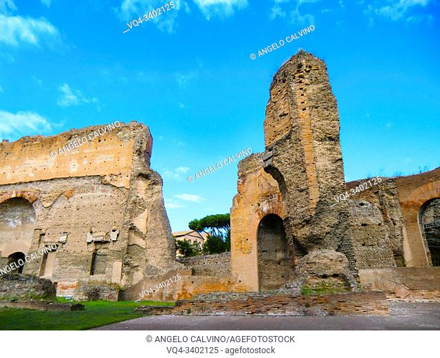 Ruins of the Baths of Caracalla (Terme di Caracalla), Thermae Antoninianae , one of the most important baths of Rome at the time of the Roman Empire, Rome