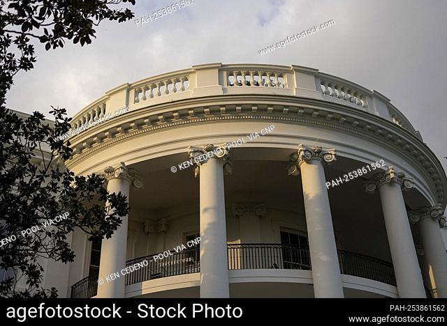 The view of the White House after United States President Joe Biden arrives back to the White House from Holy Trinity Catholic Church in the Georgetown...