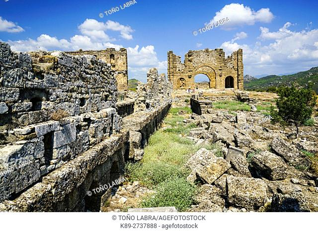 Aspendos Basilica. Ancient Greece. Asia Minor. Turkey