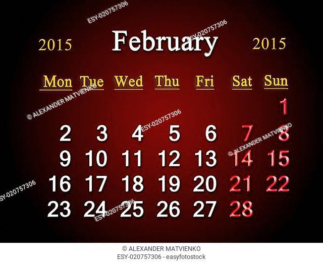 calendar on February of 2015 year on claret