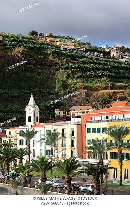 Promenade and churchtower of Ponta do Sol, former called Baia do Sol, Madeira, Portugal, Europe