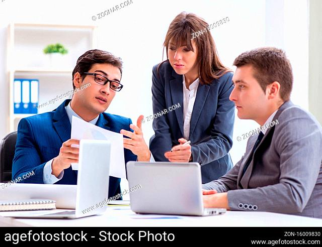 The business meeting with employees in the office